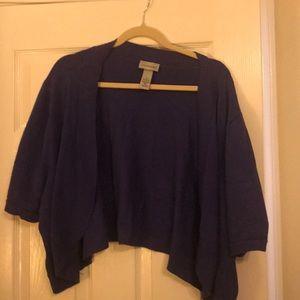 Plus size cropped jacket in purple